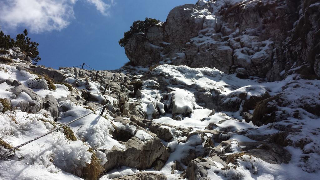 Vereister Steig kurz vor der Benediktenwand