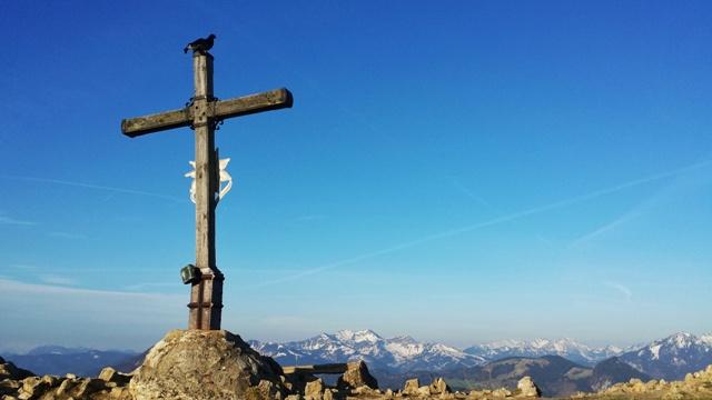 Auerhahn auf dem Gipfelkreuz des Heubergs mit Panorama