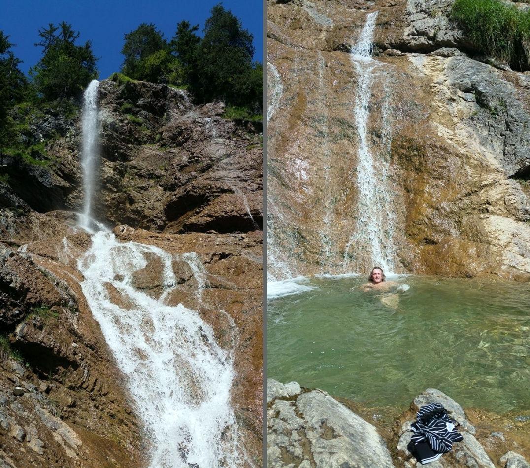 Ein Wasserfall lädt zum erfrischenden Bad ein - der perfekte Abschluss