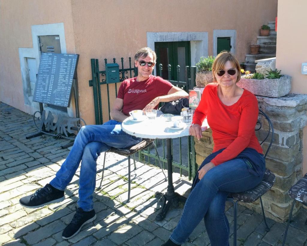 Letzter Morgen Kaffe in Motovun Istrien